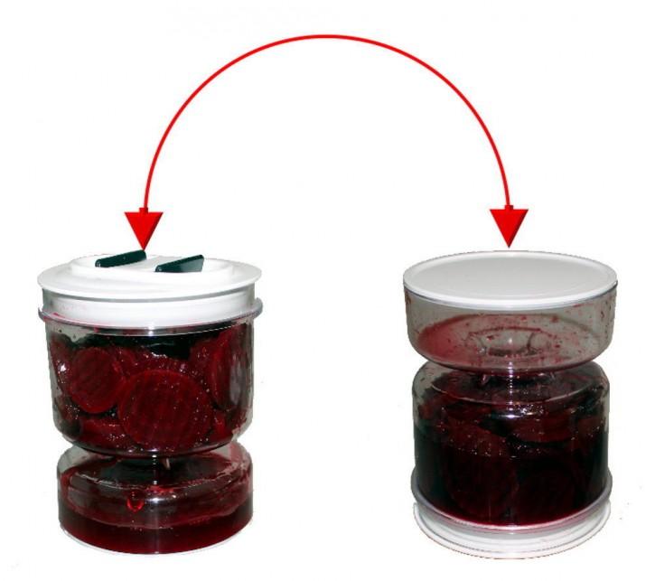 Abgiess Behälter drehbar Sieb Gurkenlift mit Vakuumdeckel