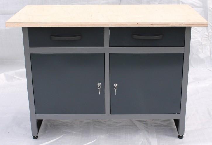 Große Montage Werkbank Werkplatz Werktisch 2 Türen 2 Schubladen grau