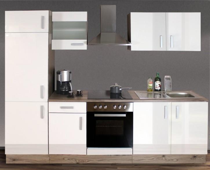 Küchenzeile mit Elektrogeräten WEISS 270 cm San Remo MONTIERT Links