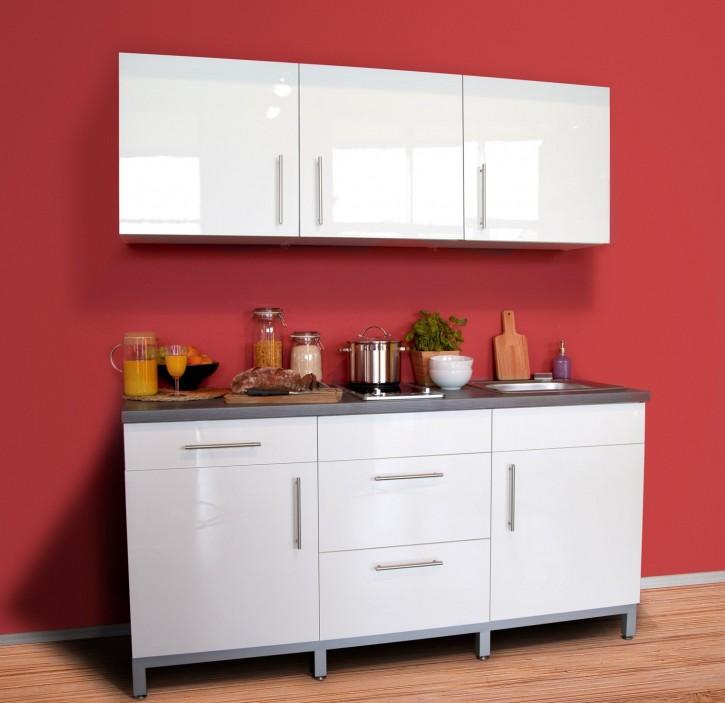 Küche Küchenblock 180 cm Ceranfeld Lack weiß Kopus Graphit