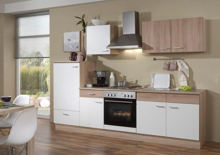 Küchenzeile Sonja 270 cm Komplett mit Kühlschrank Herd Backofen Herd Spüle Oberschrank Esse