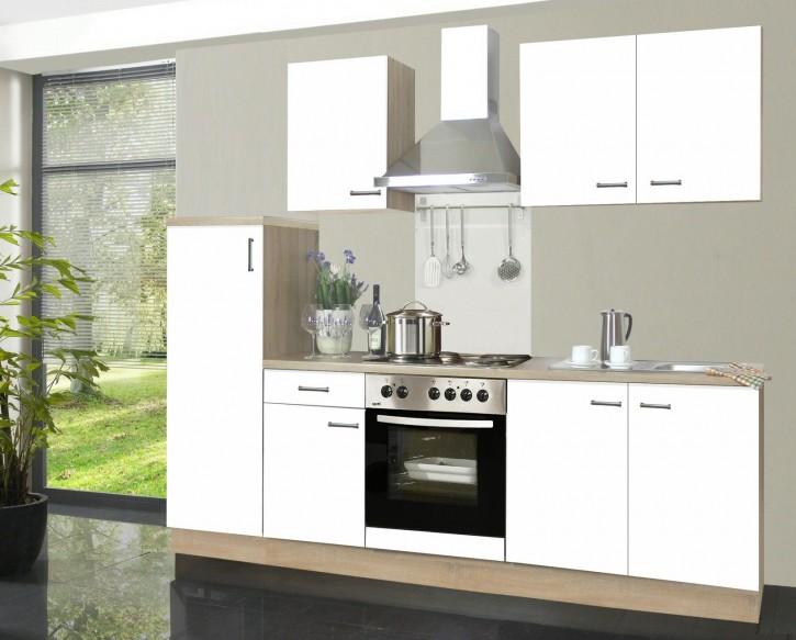 Komplette Küchenzeile 2,70 m Küche Biggi weiß Kühlschrank Herd Backofen Dunstabzugshaube