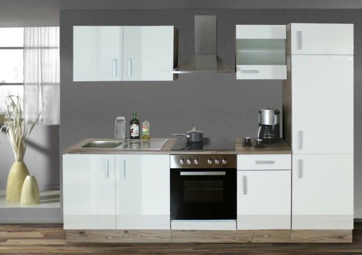 Küchenzeile mit Elektrogeräten WEISS 270 cm San Remo MONTIERT rechts