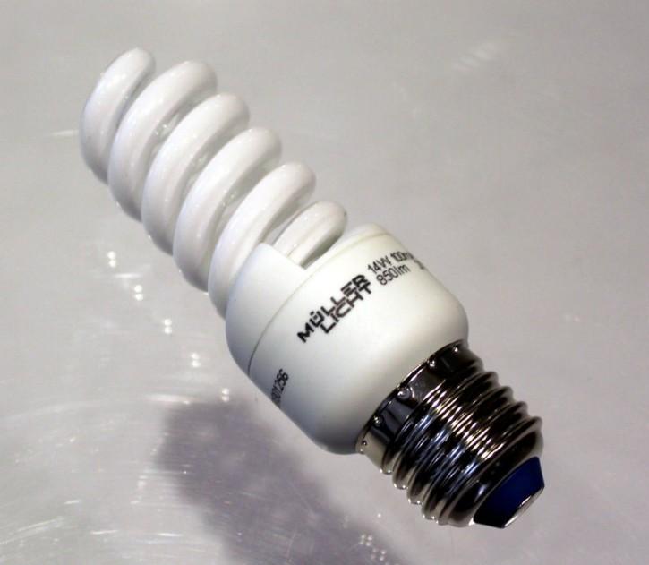 Müller Energiesparlampe Birne Energiesparbirne Spiralleuchte 27 E,  14 W, 850 lm