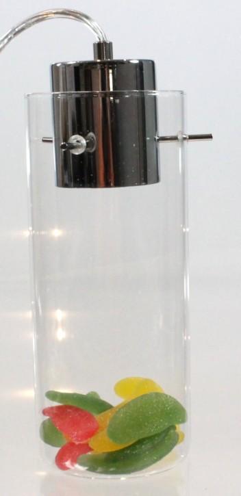 LED Hängeleuchte mit Glas Schauzylinder Pendel transparent befüllbar