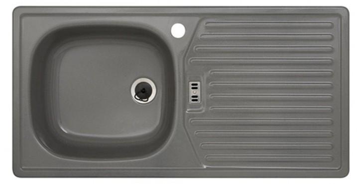 Rieber E86K Küchenspüle Spülbecken Spüle Rechteckspüle Kiesel links