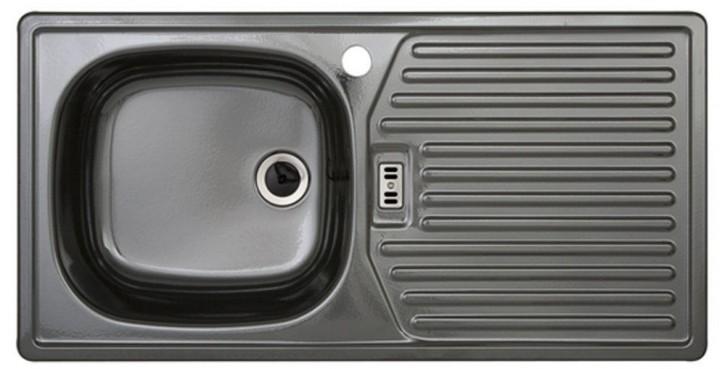 Rieber E86K Küchenspüle Spülbecken Spüle Rechteckspüle Küche Platin links