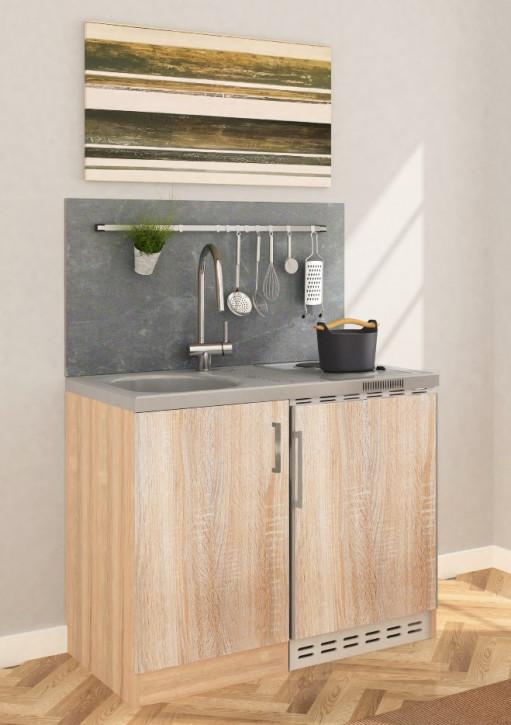 Miniküche - Singleküche - Pantryküche 1 Meter Eiche sägerau
