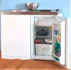 Miniküche - Singleküche - 1 m weiß mit Glaskeramik Kochfeld
