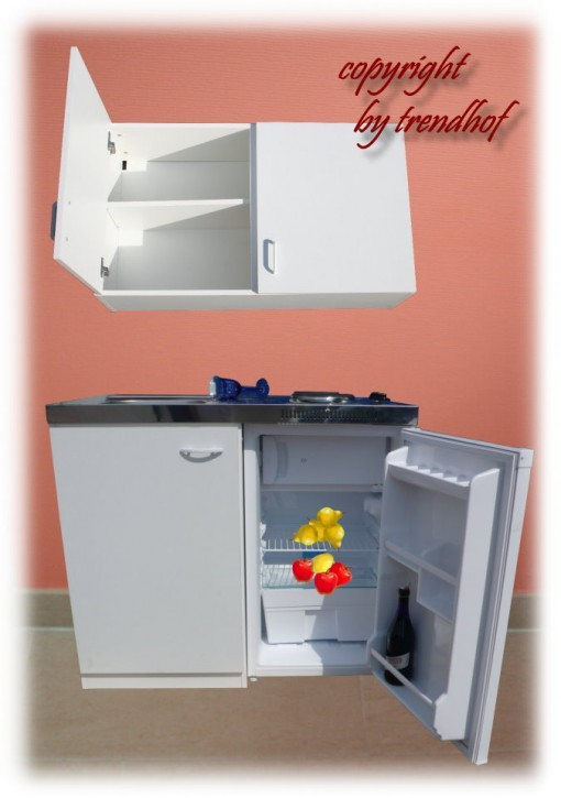 Miniküche - Singleküche - Pantryküche - Büroküche 1 m weiß + Oberschrank