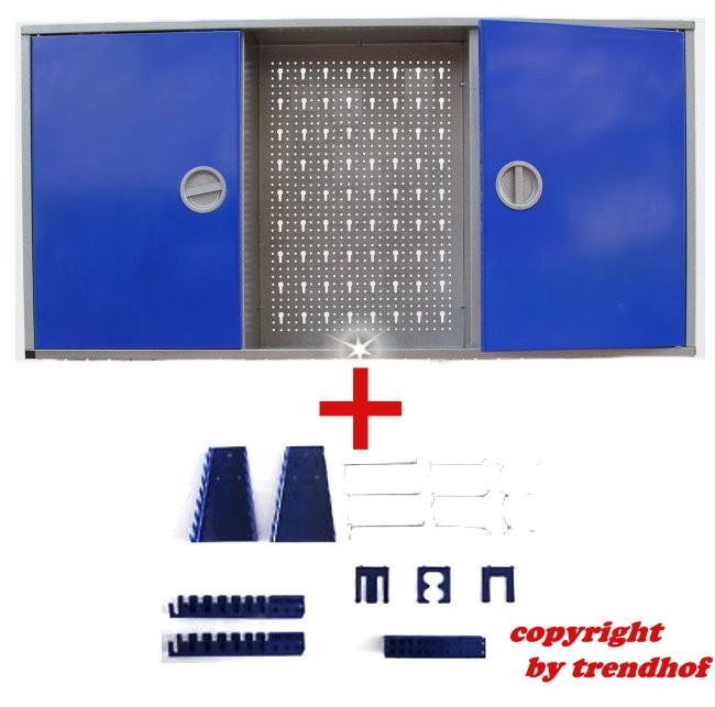 Werkzeugschrank Metall 2-türig blau Drehknopf + 17tlg. Hakenset (auch in anderen Farben)