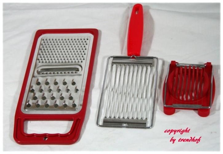 3er Set Küchenhelfer - Multireibe Eierschneider Tomatenschneider rot