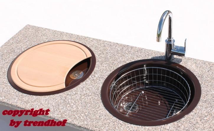 Rieber Einbauspüle Set E 39 mocca Doppelbecken Rundspüle + Holzbrett + Abtropfkorb Küchenspüle braun