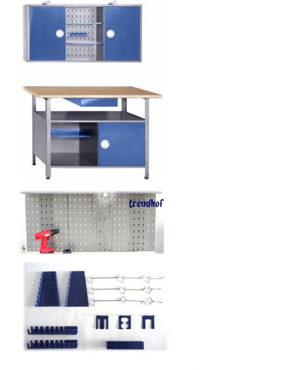 Werkstatt blau Drehgriffe + Lochwand + Hakenset
