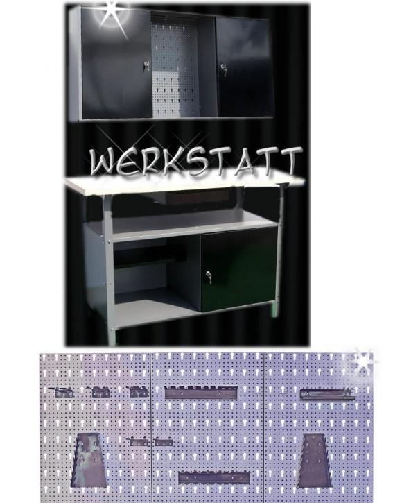 Komplette Werkstatt 2-teilig schwarz + Lochwand + Hakenset