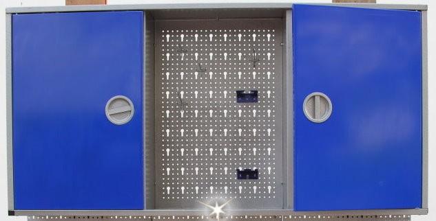 Werkzeugschrank Metall 2-türig grau-blau Drehgriffe