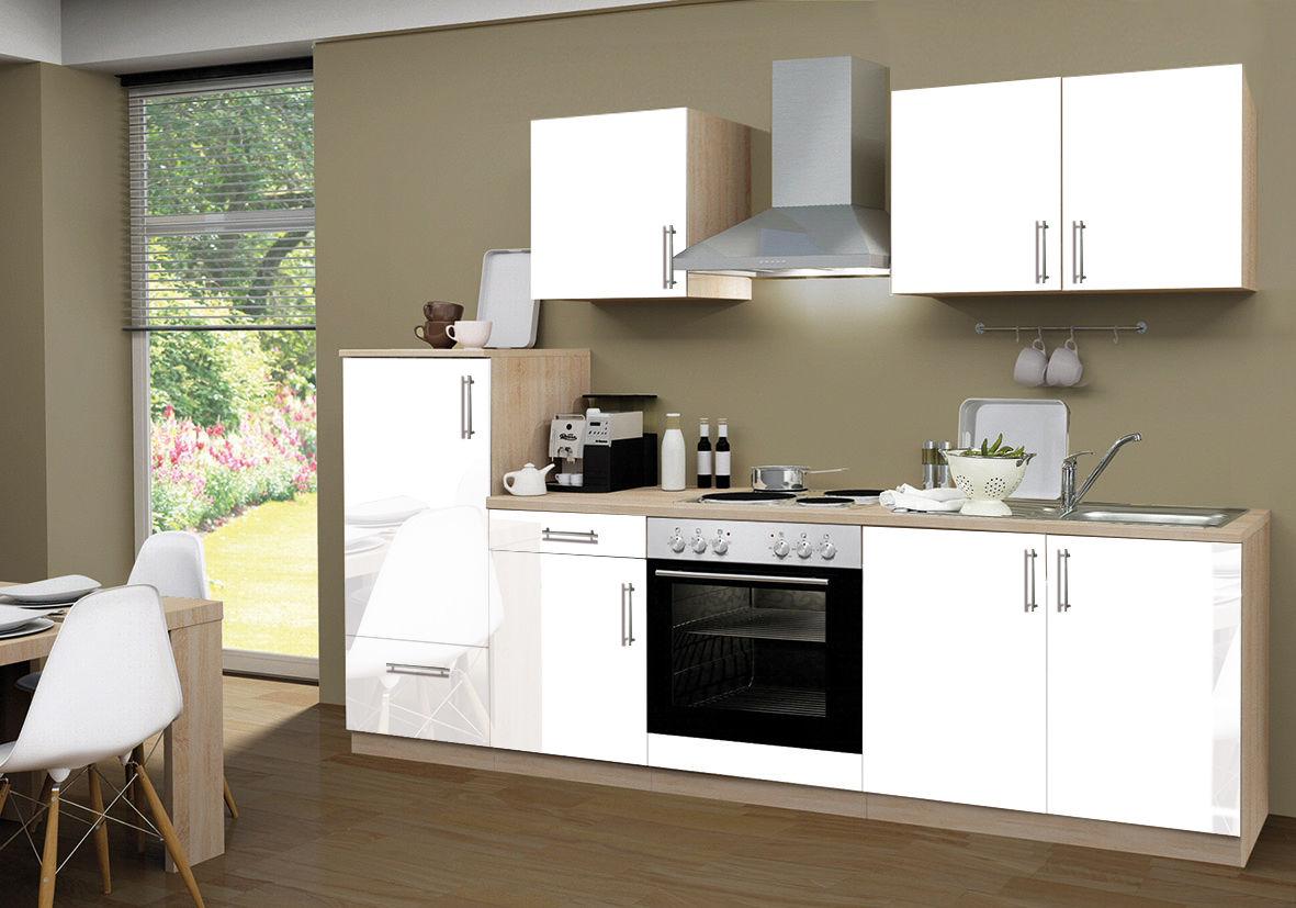 Küchenzeile 270 Cm Kompl Lack Weiß Santorin Kühlschrank Herd Backofen