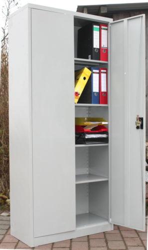 Aktenschrank abschließbar hoch  Metallschrank Aktenschrank hoch 2-türig Büro Schrank abschließbar