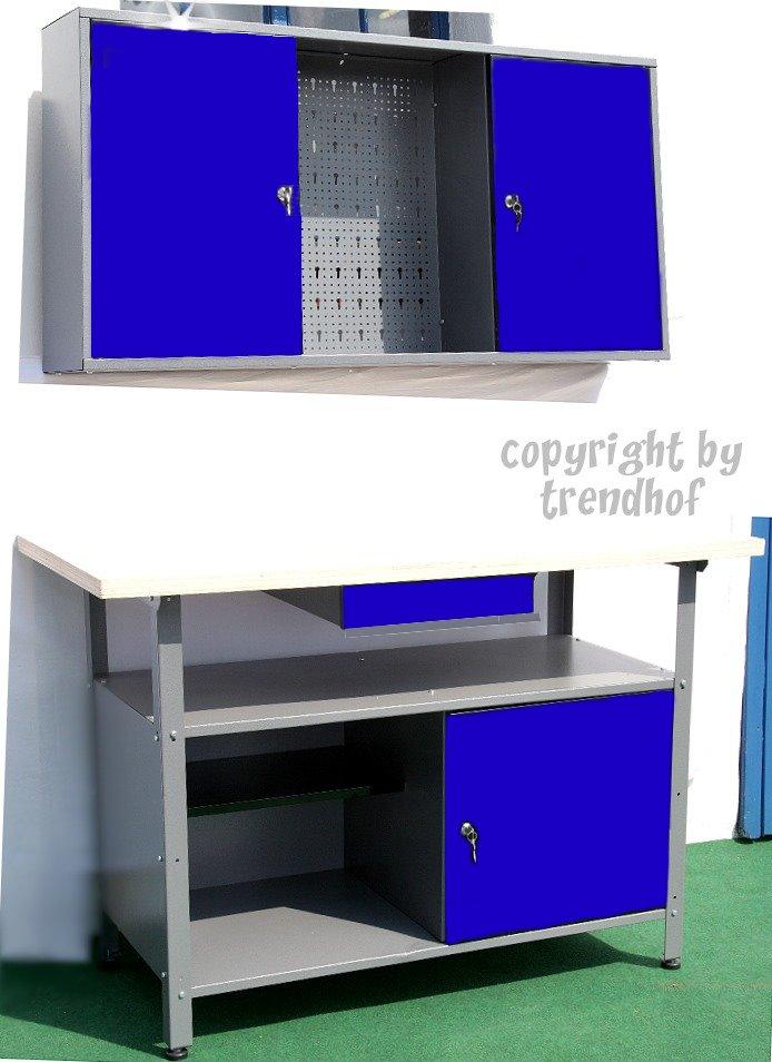 werkstatt werkzeug handwerker hobby keller blau 2tlg gro werkzeugschrank schrank werkbank. Black Bedroom Furniture Sets. Home Design Ideas