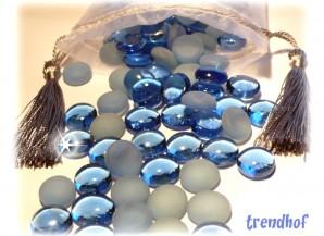 Glas Dekosteine Blau