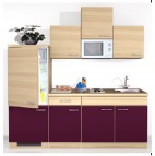 Komplette Küche Kühlschrank Mikrowelle KÜCHENBLOCK 210 Aubergine
