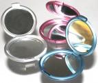 Taschenspiegel klappbar mit Vergrößerungsspiegel blau pink silber