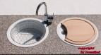 Rieber Einbauspüle Set E 39 weiß Doppelbecken Rundspüle + Holzbrett + Abtropfkorb Küchenspüle