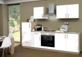 Küchenzeile 270 cm Kompl. Lack weiß SANTORIN Kühlschrank Herd Backofen