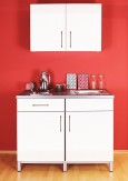 Küche Miniküche 1,20 m weiß inkl. Oberschrank