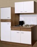 Miniküche 160 cm TRÜFFEL Singleküche Küche Kühlschrank Herd Spüle Oberschrank