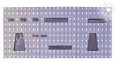 Lochwand Metall 3-teilig mit Haken + Werkzeughalter grau