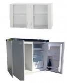 Miniküche Singleküche mit Glastürenoberschrank 1 m weiss