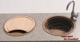 Rieber Einbauspüle Set E 39 Cappuccino Doppelbecken Rundspüle + Holzbrett + Abtropfkorb Küchenspüle rund