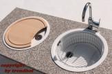 Rieber Einbauspüle Set E 39 Magnolie Doppelbecken Rundspüle + Holzbrett + Abtropfkorb Küchenspüle rund