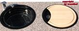 Rieber Einbauspüle Set E 39 schwarz Doppelbecken Rundspüle + Holzbrett + Abtropfkorb Küchenspüle
