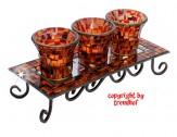 Mosaik 3er Teelichthalter Windlicht Gartenlicht Amber-Zimt