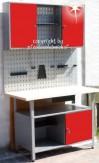 Komplette Werkstatt 2-teilig rot + Lochwand + Hakenset